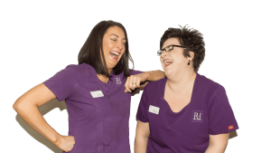 Natalie Doughty and Faye Vaughan Laughing at Rock House Dental Practice