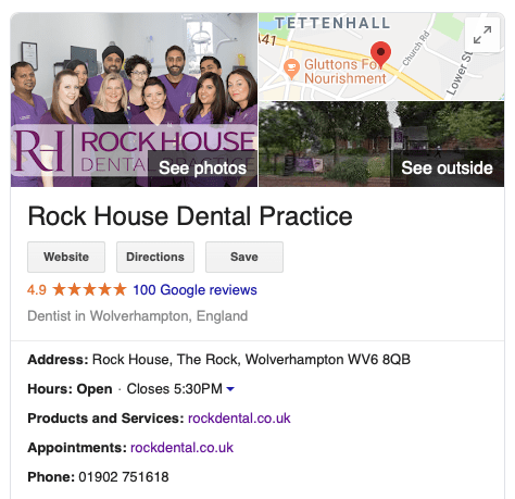 Rock House Dental Practice Google Reviews