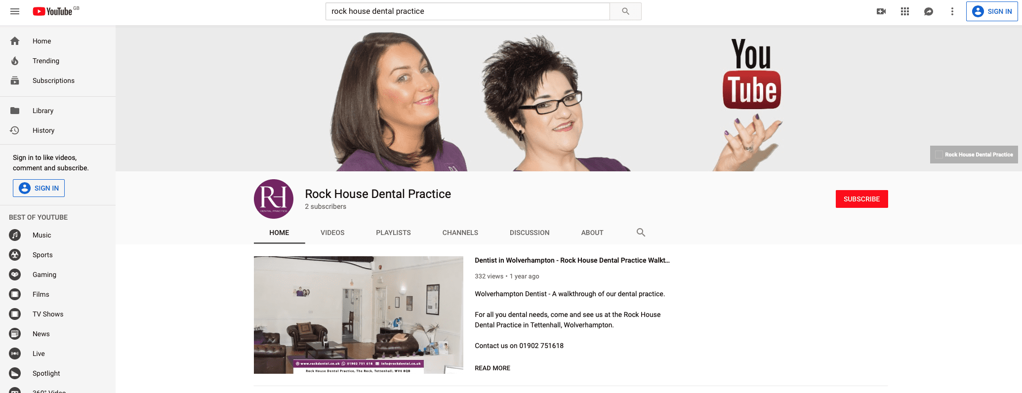 Rock House Dental Practice YouTube Page